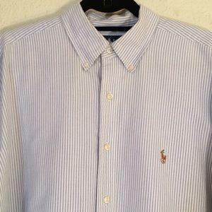 Ralph Lauren blue/white striped shirt, sz L (209)